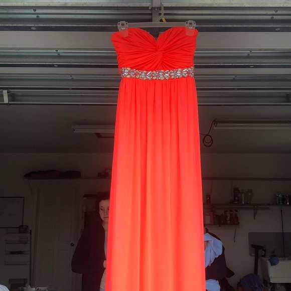Long Coral Prom Dress